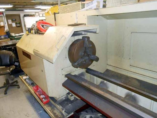 """Image 3 for Chevalier #FCL-2480, 24"""" swing x 80"""", Dynapath Delta CNC, 3-Jaw 15"""" chuck, Steady Rest, coolant, 1998"""