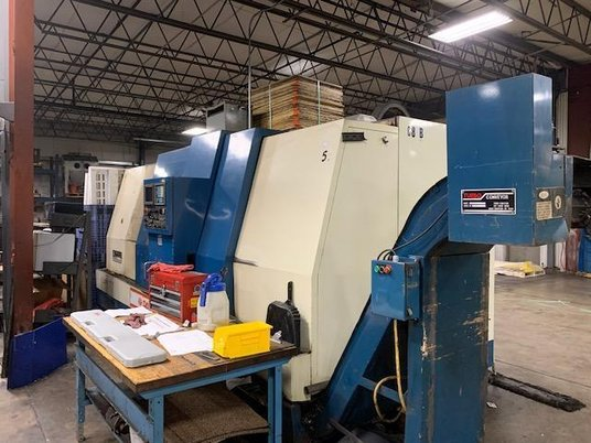 """Image 1 for Daewoo Doosan #Puma-15, CNC lathe, Fanuc 16T, 31"""" swing, 21"""" chuck, 5.2"""" spindle bore, 27"""" turning diameter, tailstock, chip conveyor, 2000 RPM, 1993-1996 (2 available)"""