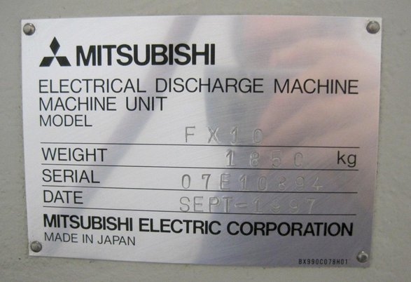 """Image 7 for Mitsubishi #FX-10, 5-Axis wire Electrical Discharge Machine, 13.77"""" X, 9.84"""" Y, 35.4"""" Z, 24.8"""" x 20.86"""" table, 1997"""