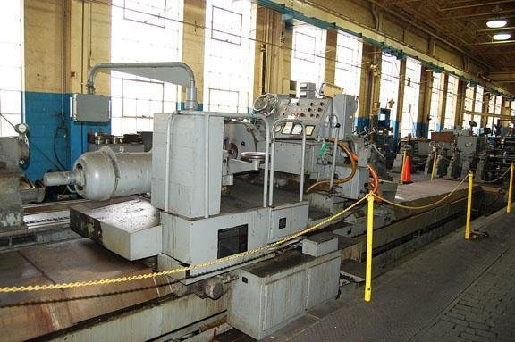 """Image 3 for 40"""" x 393"""" Waldrich #WSIII40, roll grinder, 30"""" x 4"""" wheel, 4-jaw 21"""" chk, 29"""" face plate, 1965"""