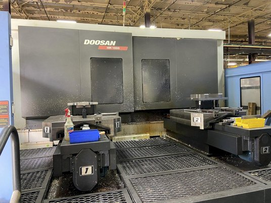 """Image 2 for Doosan Daewoo #HM-1000, CNC horizontal machining center, 90 automatic tool changer, 82.3"""" X, 49.2"""" Y, 49.2"""" Z, 6000 RPM, #50, 35 HP, 4-Axis, Fanuc 31i-MA, chip conveyor, thru spindle coolant, 2011"""
