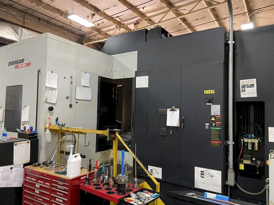 """Image 5 for Doosan Daewoo #HM-1000, CNC horizontal machining center, 90 automatic tool changer, 82.3"""" X, 49.2"""" Y, 49.2"""" Z, 6000 RPM, #50, 35 HP, 4-Axis, Fanuc 31i-MA, chip conveyor, thru spindle coolant, 2011"""