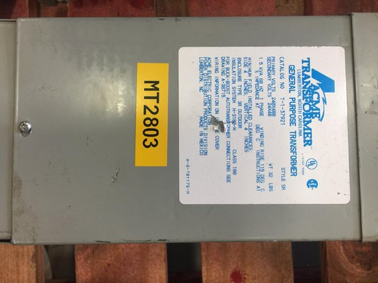 Image 1 for 1.5 KVA 480/240 Primary  48/24 Secondary , ACME, dry type, #MT2803