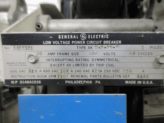 Image 3 for 600 Amps, General Electric, AKU-2-25-M, manually operated, drawout, LI, 1200A fuses