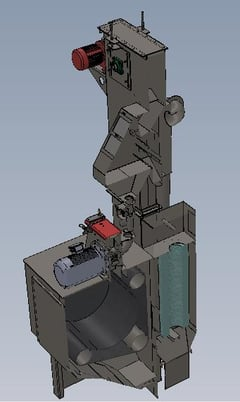 Image 3 for 5 cu.ft. Model TD326, rubber belt tumble blast system with dust collector
