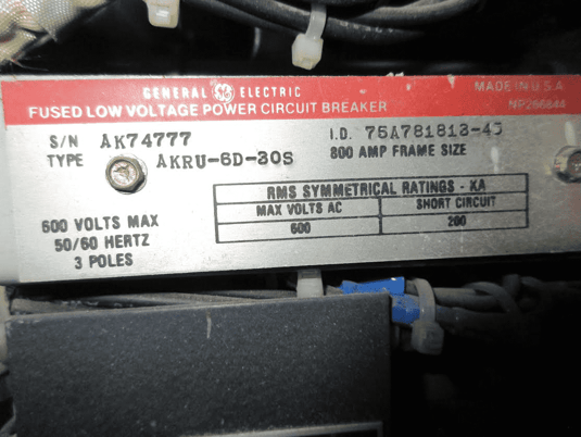Image 2 for 800 Amps, General Electric, akru- 6d-30s, electrically operated, drawout