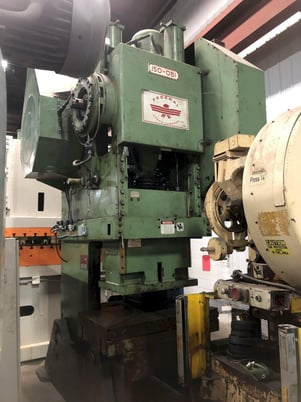 """Image 2 for 150 Ton, Federal #150, back geared press, 6"""" stroke, 22"""" Shut Height, 35 SPM, 50"""" x 30"""" bed area, remanufactured 1995"""