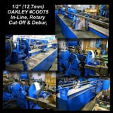 """Image for 1/2"""" Oakley #COD75, in-line rotary cut off & debur, 1 knife, 2 roller supports, hand wheel adjustable run out with lock stroke counter"""
