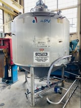 Image for 1500 gallon APV Crepaco Stainless Steel Vertical Tank, Stock #0519821