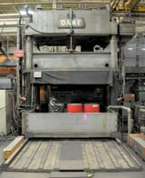 """Image for 150 Ton, Dake #18-467, 4-post down acting hydraulic spotting press, 24"""" stroke, 60"""" Shut Height, roll out bolster, 1973"""