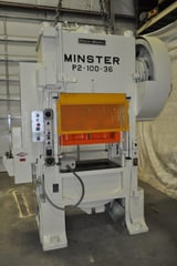 "Image for 100 Ton, Minster #P2-100, straight side double crank press, 3"" stroke, 16"" Shut Height, 4"" adj., 100-300 SPM, 36"" x 31"" bed, Vamco servo feeder, #13617J"